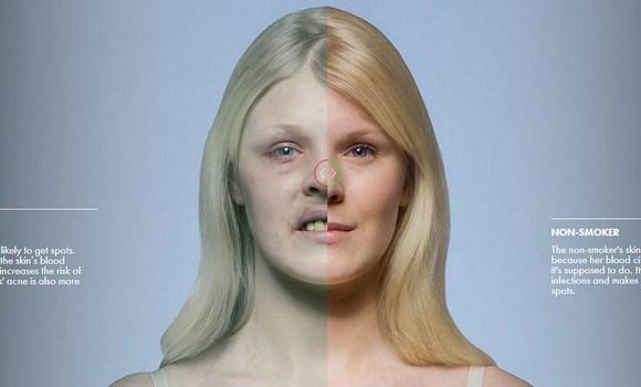 喫煙者(左)と非喫煙者(右)の比較画像