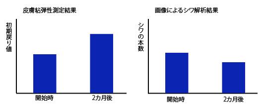 コラーゲンによる肌弾性とシワの変化のグラフの画像