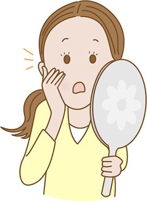 鼻毛に気づく女性の画像