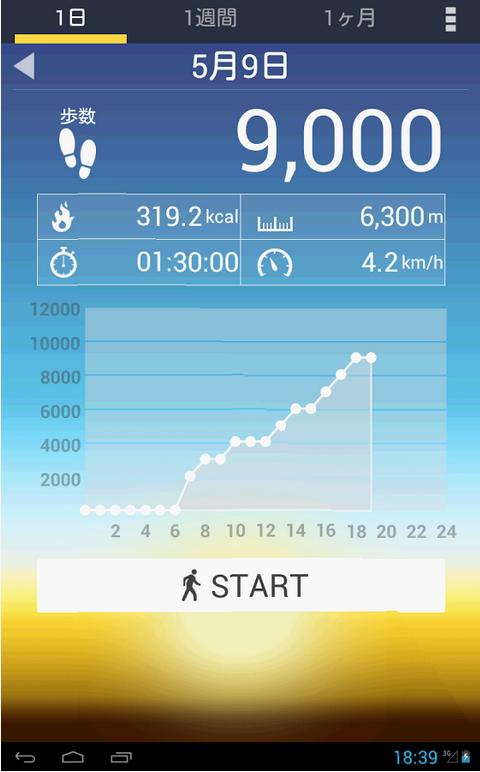 歩数計の画面の画像