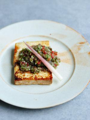 豆腐ステーキ、夏野菜のたれの画像