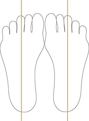 足のまっすぐな線の画像