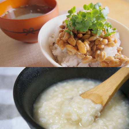 納豆と味噌汁と麹の画像