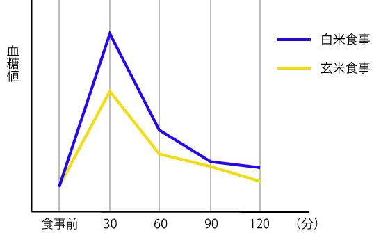 白米と発芽玄米の血糖値の画像