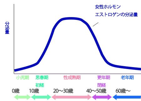 エストロゲン量の変化の画像