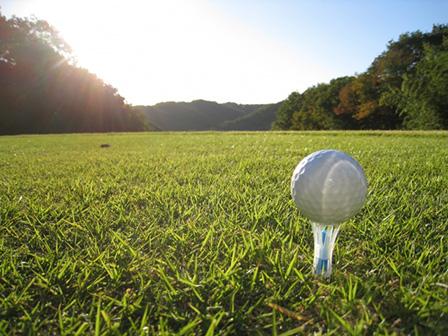 朝のゴルフ場の画像