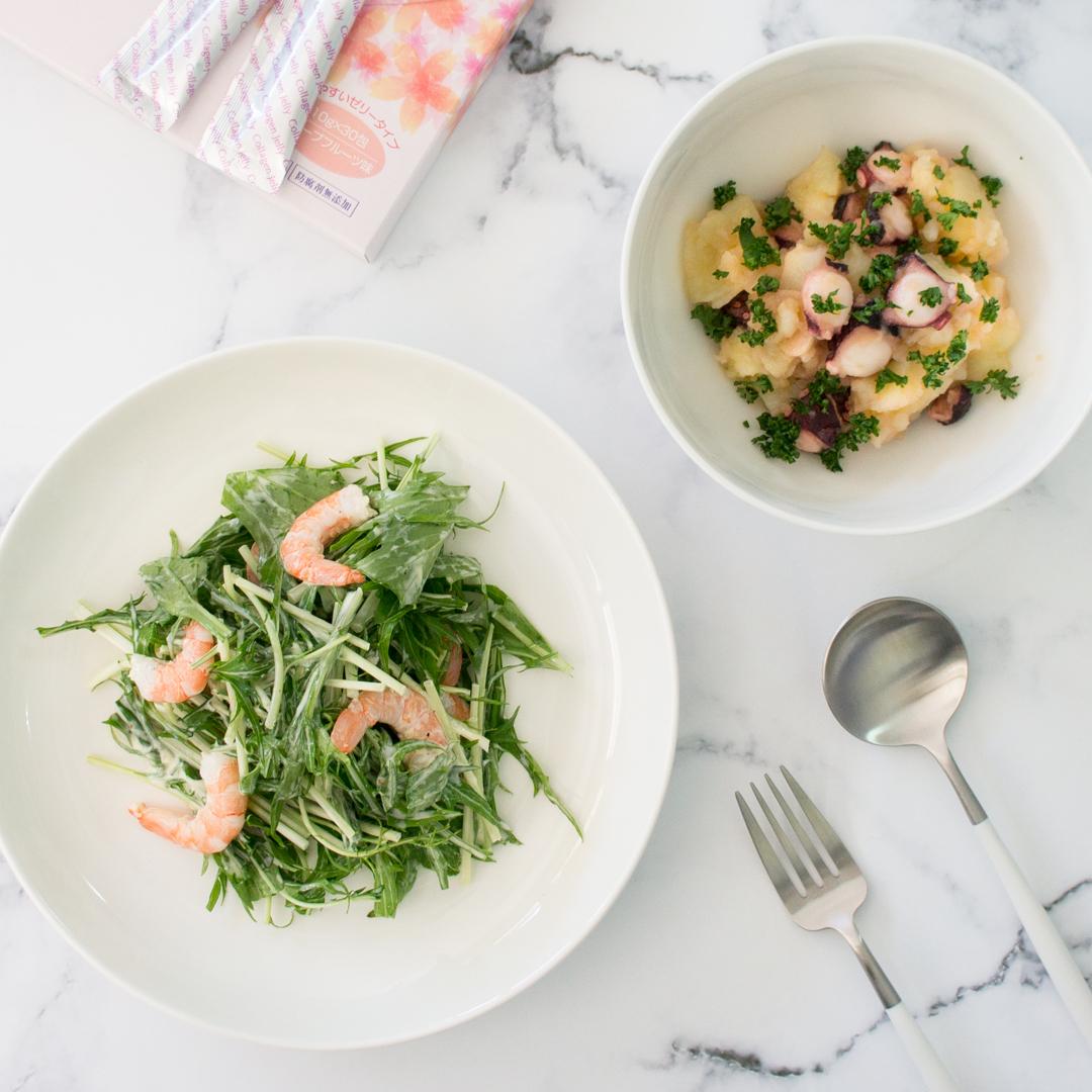タコとじゃがいものサラダ&エビと水菜のサラダの画像